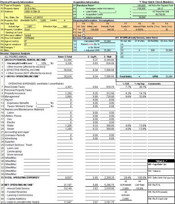 Cash Flow Property Analysis